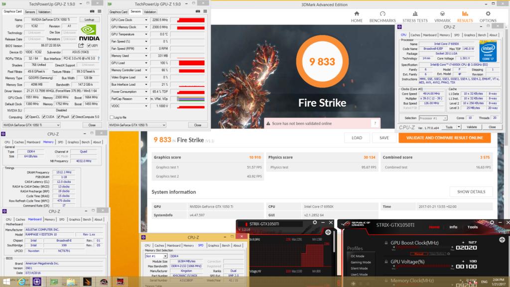 ASUS ROG Strix GTX 1050 Ti Gaming Fire Strike