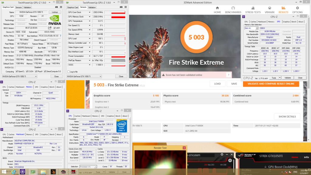ASUS ROG Strix GTX 1050 Ti Gaming Fire Strike Extreme