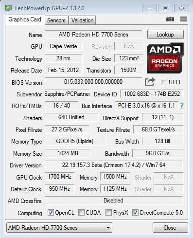 SAPPHIRE Radeon HD7770 в руках нашего соотечественника покорила частоту GPU 1700 MHz
