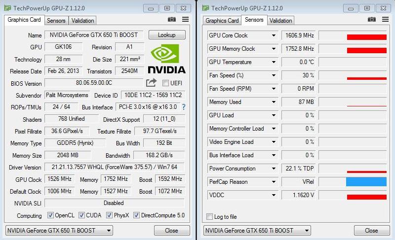 Palit GeForce GTX 650 Ti BOOST OC разогнана россиянином до 1600 МГц по GPU