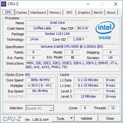 В сети появился скриншот CPU-Z шестиядерного процессора  Intel Coffee Lake