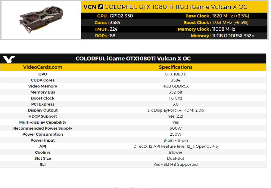 COLORFUL iGame GTX1080Ti Vulcan X OC характеристики
