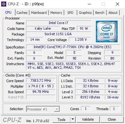 Intel Core i7 7700K установил рекорд частоты на отметке 7 383 МГц
