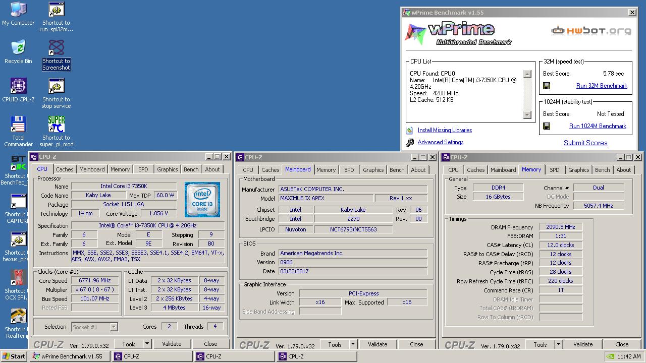 Intel Core i3 7350K отличился в wPrime - 32m